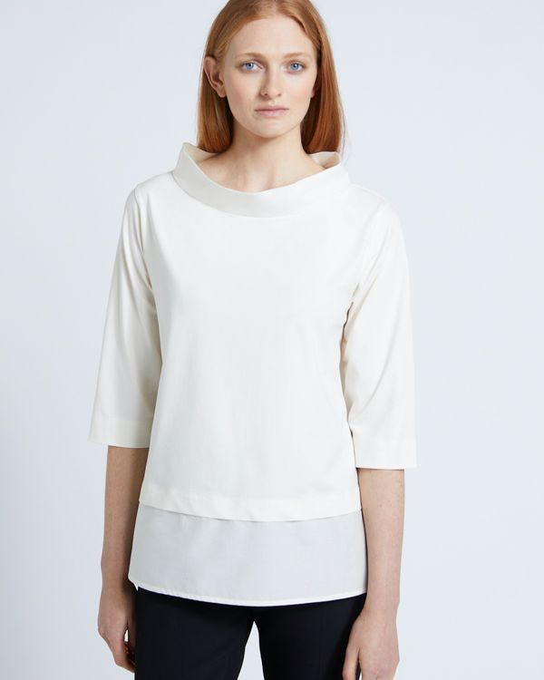 Carolyn Donnelly The Edit Cream Funnel Neck Top