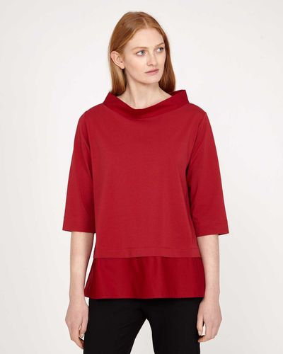 Carolyn Donnelly The Edit Red Funnel Neck Top