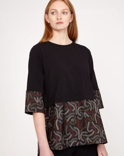 Carolyn Donnelly The Edit Squiggle Print Cotton Hem Top thumbnail