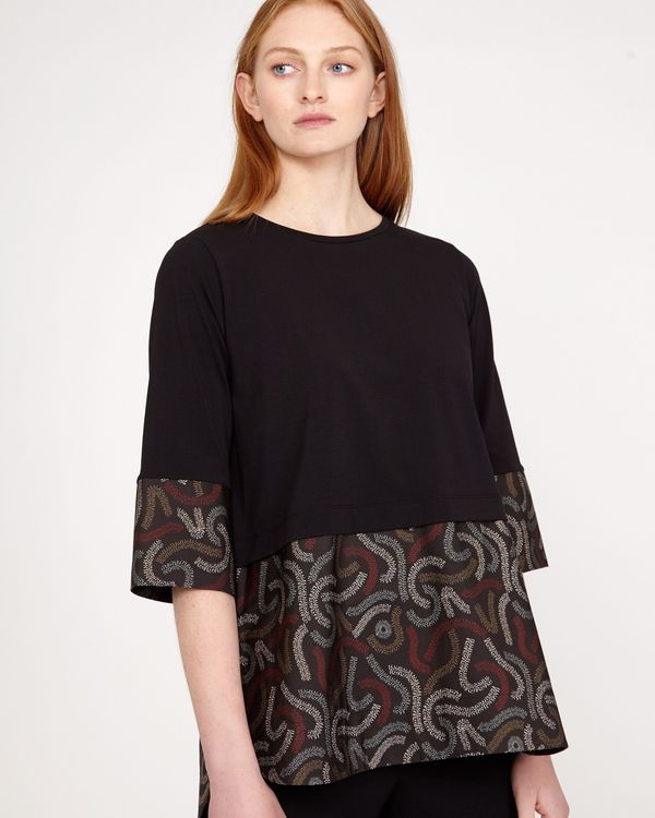 Carolyn Donnelly The Edit Squiggle Print Cotton Hem Top
