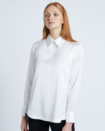 Carolyn Donnelly The Edit Cream Poly Satin Zip Shirt