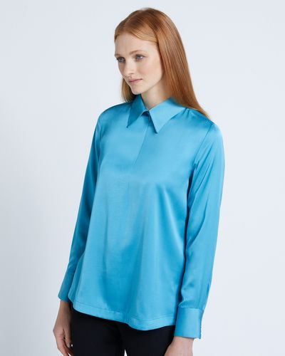 Carolyn Donnelly The Edit Blue Poly Satin Zip Shirt