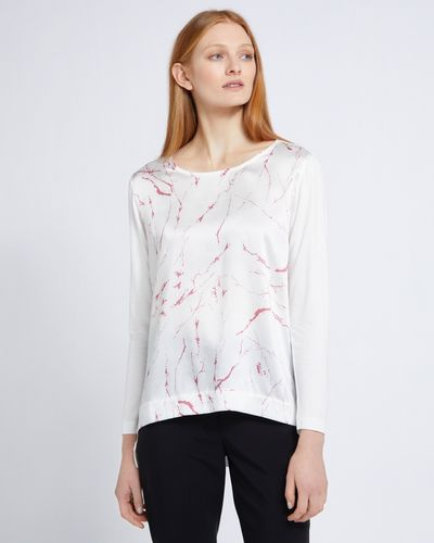 Carolyn Donnelly The Edit High Low Marble Print Top