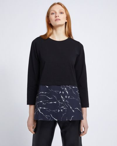 Carolyn Donnelly The Edit Marble Print Cotton Hem Top