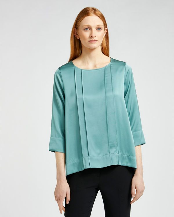 Carolyn Donnelly The Edit Pleat Front Satin Blouse