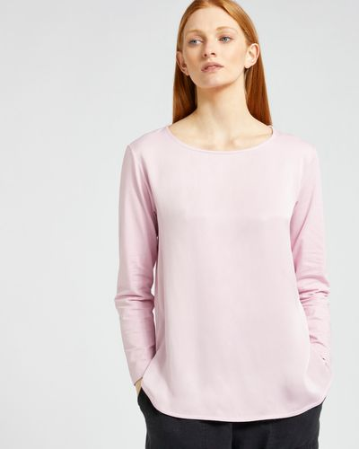 Carolyn Donnelly The Edit Curved Hem Satin Top