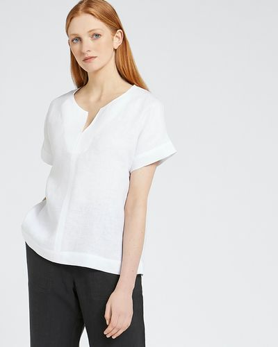 Carolyn Donnelly The Edit Slit Neck Linen Top