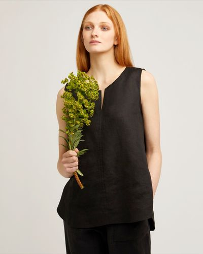 Carolyn Donnelly The Edit Sleeveless Linen Slit Neck Top