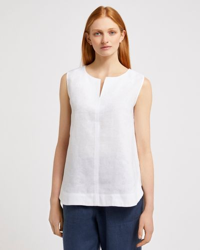 Carolyn Donnelly The Edit Sleeveless Slit Neck Linen Top