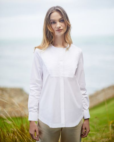 Carolyn Donnelly The Edit Collarless Pleat Shirt