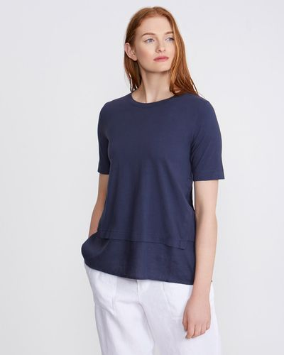 Carolyn Donnelly The Edit Indigo Linen Side Detail Top