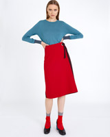 red Carolyn Donnelly The Edit Wrap Tie Skirt