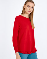 red Carolyn Donnelly The Edit Frill Hem Sweater