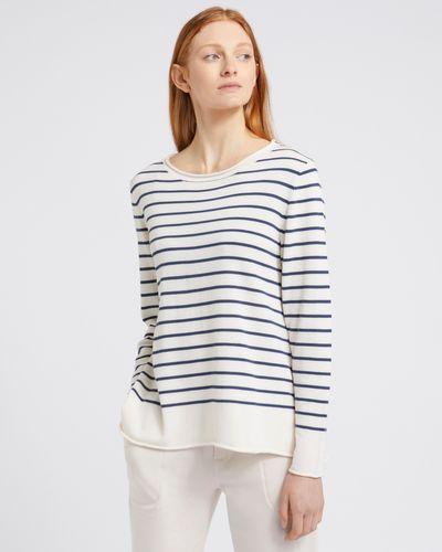 Carolyn Donnelly The Edit Dark Denim Stripe Cotton Sweater
