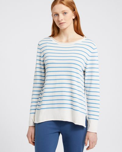 Carolyn Donnelly The Edit Blue Stripe Cotton Sweater