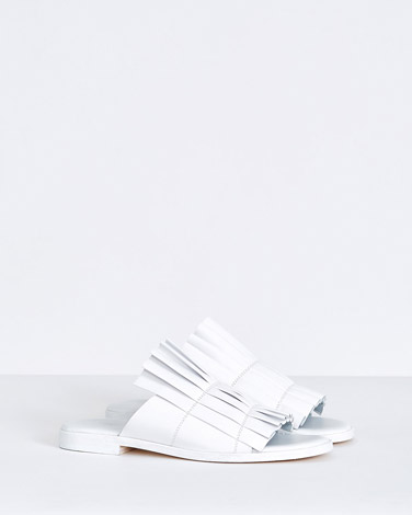 white Carolyn Donnelly The Edit Ruffle Leather Sandals