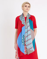 print Carolyn Donnelly The Edit Wave Geo Silk Scarf
