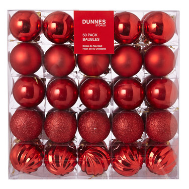 redChristmas Baubles - Pack Of 50