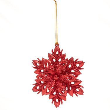 redGlitter Snowflake Hanging Decoration