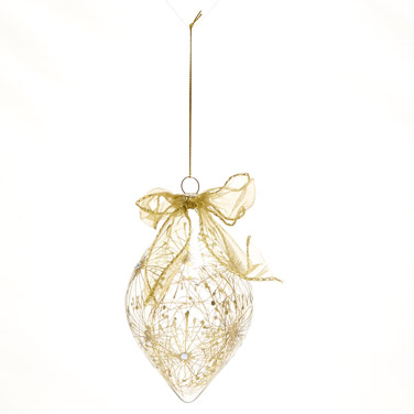 goldGold Finial Decoration With Organza Bow