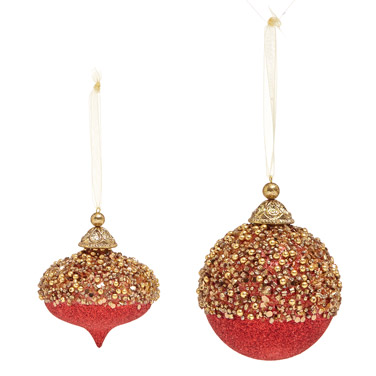 redGold Beaded Ball And Finial