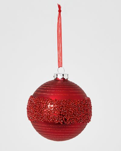 Beaded Centre Red Bauble