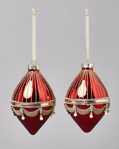 Red Droplet Finial - Pack Of 2
