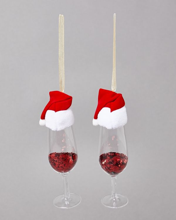 Santa Hat Champagne Decoration - Pack Of 2