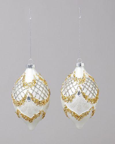 Gold Glitter Design Finial - Pack Of 2