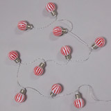 red Candy Cane Lights - Set Of 10 (Indoor Use Only)