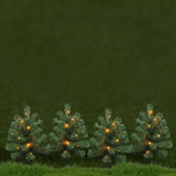 green LED Mini Trees - Set Of 4
