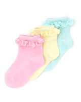 assorted Girls Cotton Lace Socks - Pack Of 3