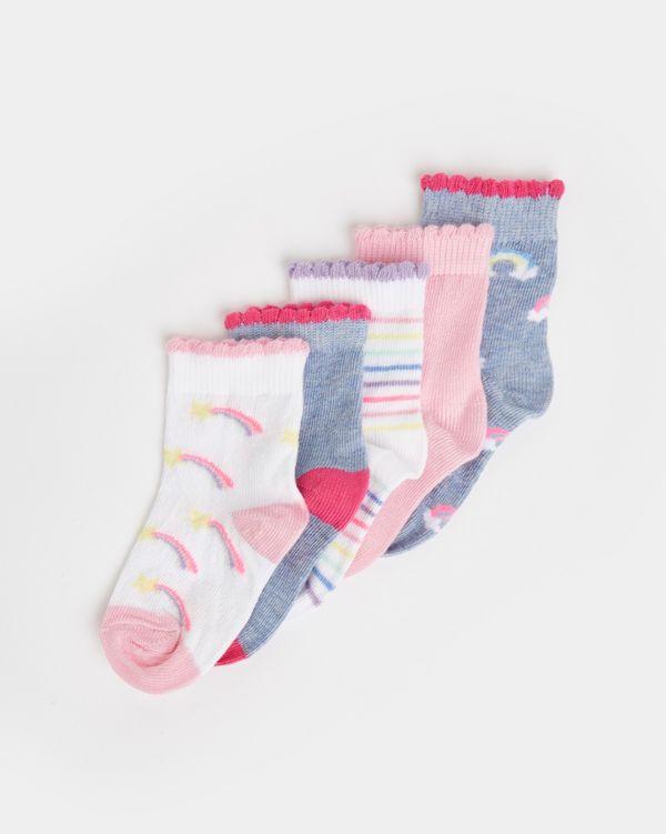 Baby Girls Design Socks - Pack Of 5
