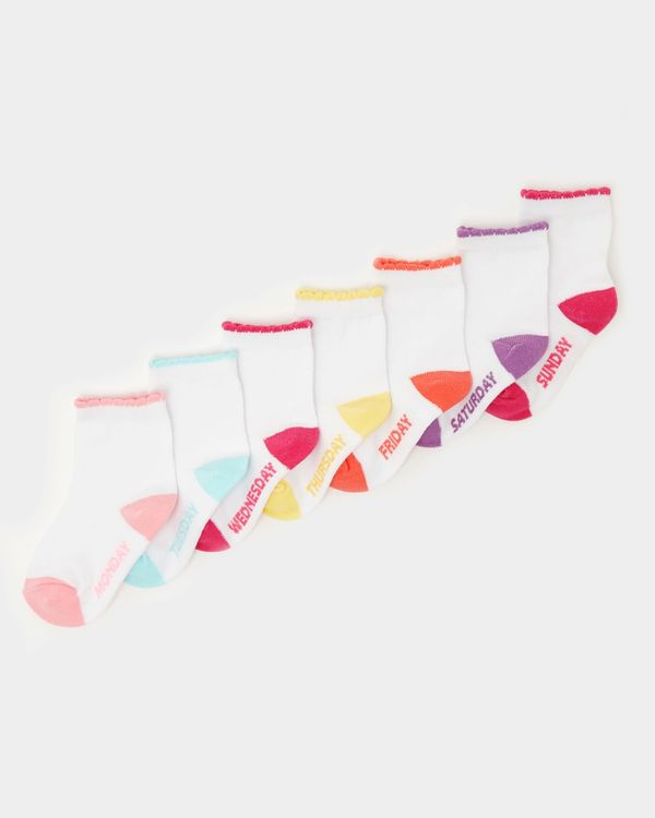 Baby Girls Cotton-Rich Socks - Pack Of 7