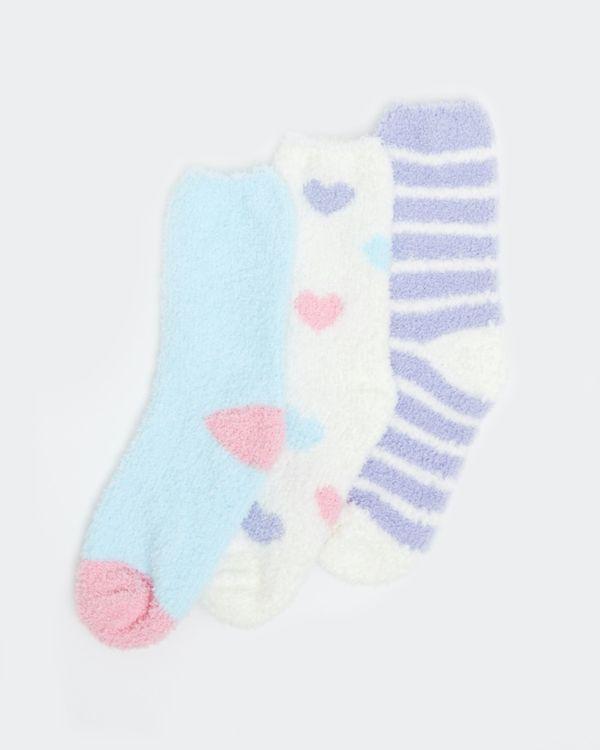 Girls Cosy Fluffy Socks - Pack Of 3