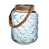 blue Glass Lantern With Rope