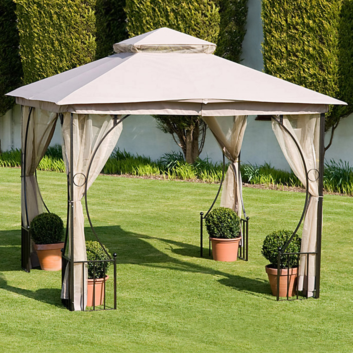 Dunnes Stores Cream 3m Oxford Gazebo With Curtains