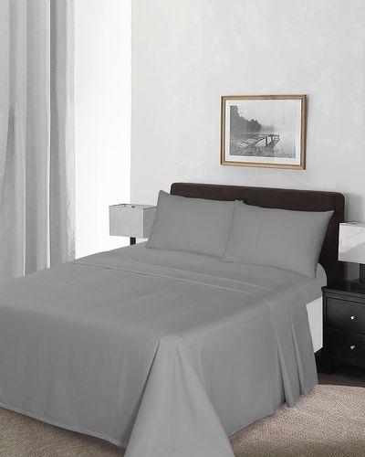 Grey Cotton Sateen Flat Sheet