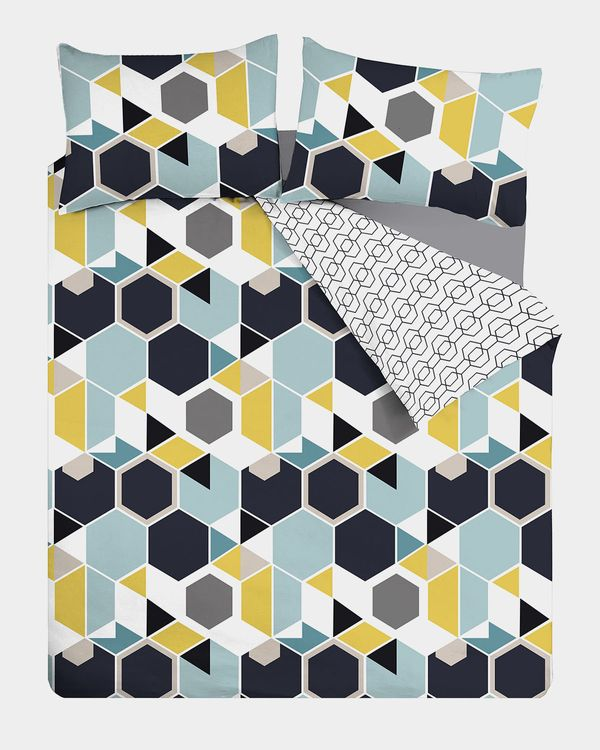 Retro Hex Printed Complete Bed Set