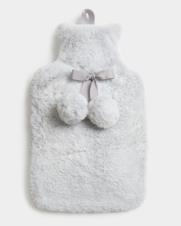 Grey Faux Fur Hot Water Bottle