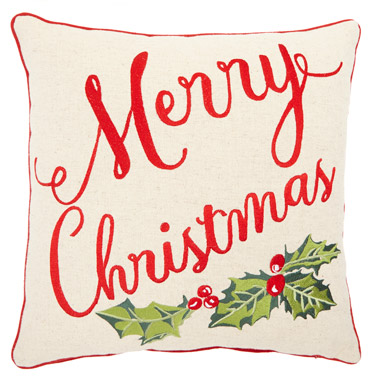 red Merry Christmas Embroidered Cushion