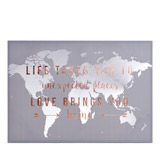 grey Map Quote Canvas