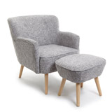 grey Scandi Chair And Footstool