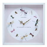 white Dragonfly Clock