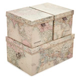 blue Map Storage Boxes - Set Of 3