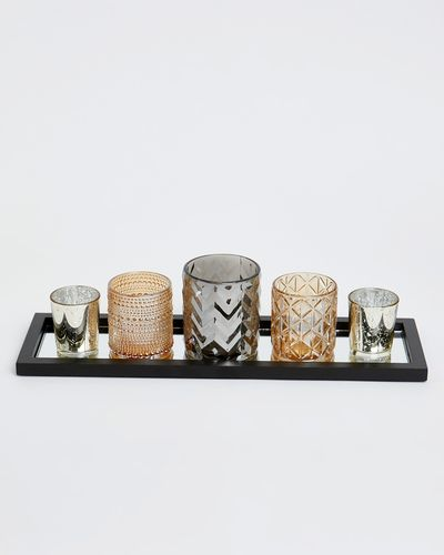 Votive Set With Mirrored Tray - Set Of 5