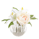 cream Lily And Rose In Ribbed Vase