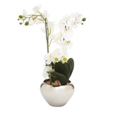 silver Orchid In Silver Pot