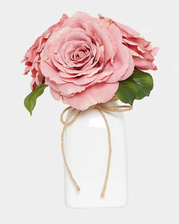 Roses In Ceramic Pot With Twine Bow