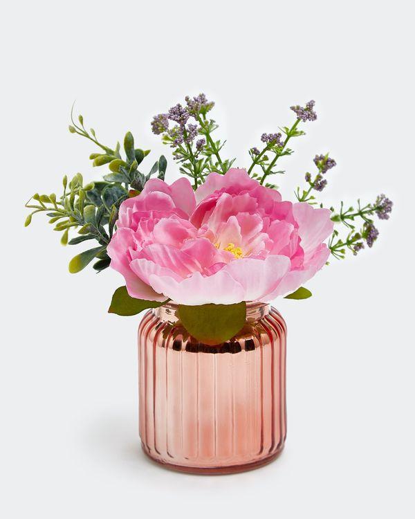 Mini Metallic Pot With Flower